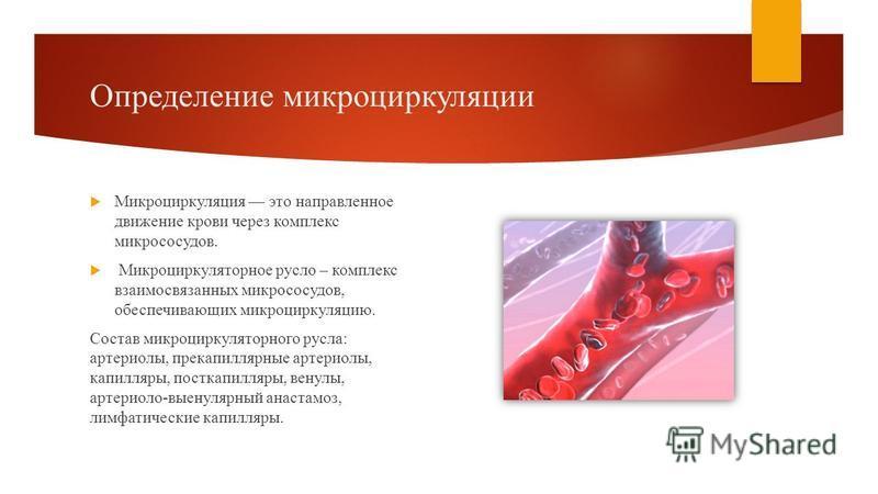 Определение микроциркуляции Микроциркуляция это направленное движение крови через комплекс микрососудов. Микроциркуляторное русло – комплекс взаимосвязанных микрососудов, обеспечивающих микроциркуляцию. Состав микроциркуляторного русла: артериолы, пр