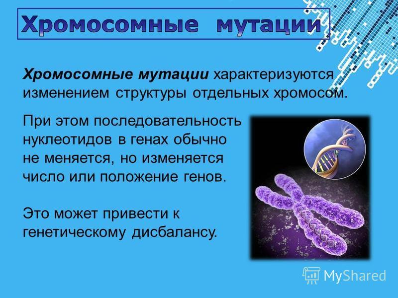 Powerpoint Templates Page 26 Хромосомные мутации характеризуются изменением структуры отдельных хромосом. При этом последовательность нуклеотидов в генах обычно не меняется, но изменяется число или положение генов. Это может привести к генетическому