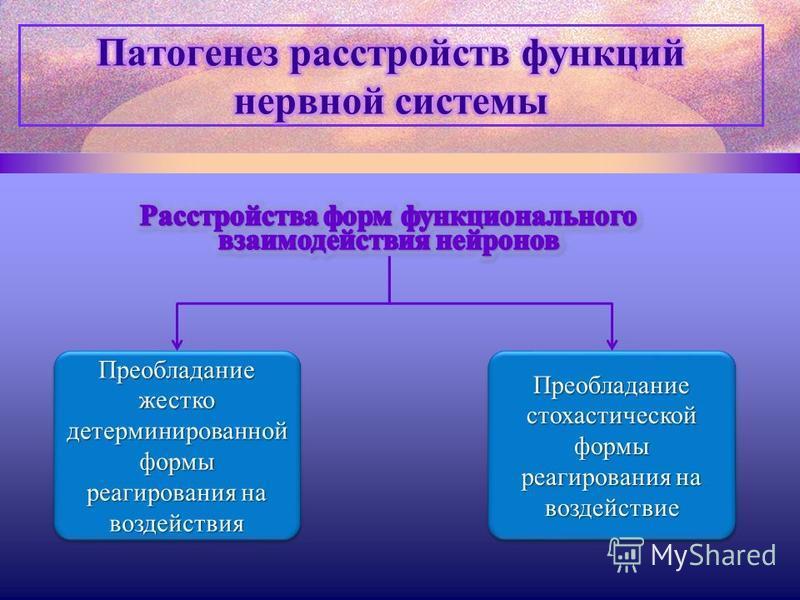 Преобладание жестко детерминированной формы реагирования на воздействия Преобладание стохастической формы реагирования на воздействие