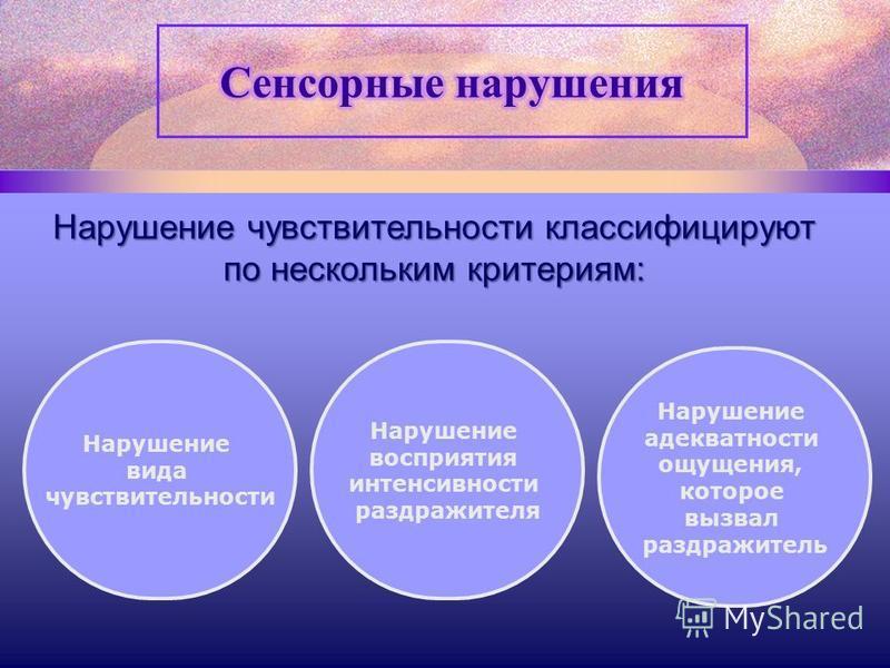 Нарушение чувствительности классифицируют по нескольким критериям: Нарушение вида чувствительности Нарушение восприятия интенсивности раздражителя Нарушение адекватности ощущения, которое вызвал раздражитель