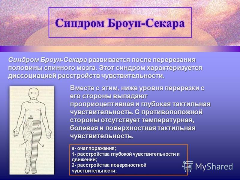 Синдром Броун-Секара развивается после перерезания половины спинного мозга. Этот синдром характеризуется диссоциацией расстройств чувствительности. Вместе с этим, ниже уровня перерезки с его стороны выпадают проприоцептивная и глубокая тактильная чув