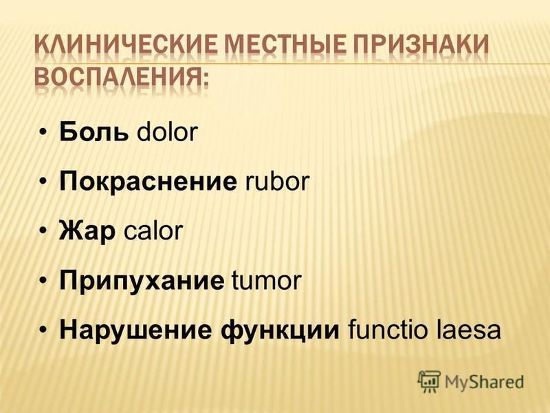 Боль dolor Покраснение rubor Жар calor Припухание tumor Нарушение функции functio laesa