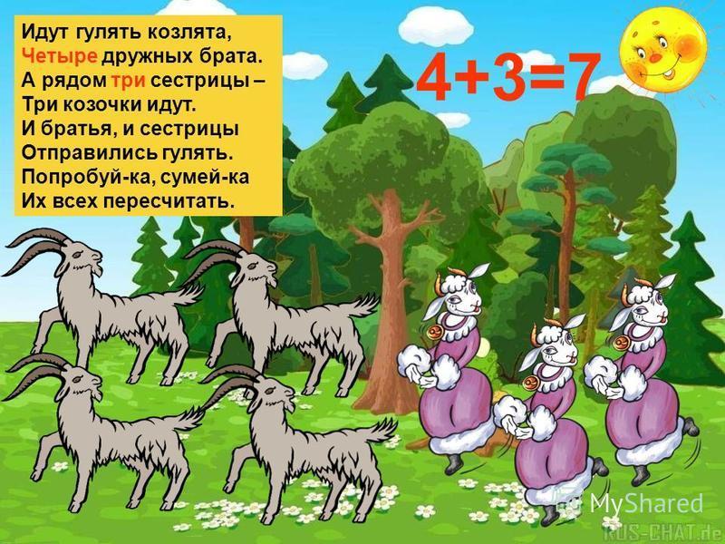 Идут гулять козлята, Четыре дружных брата. А рядом три сестрицы – Три козочки идут. И братья, и сестрицы Отправились гулять. Попробуй-ка, сумей-ка Их всех пересчитать. 4+3=7