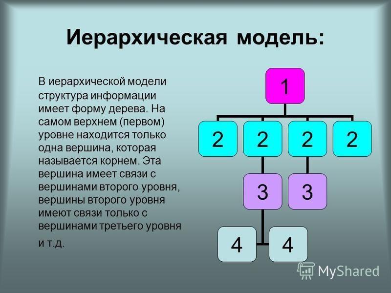 Иерархическая модель: В иерархической модели структура информации имеет форму дерева. На самом верхнем (первом) уровне находится только одна вершина, которая называется корнем. Эта вершина имеет связи с вершинами второго уровня, вершины второго уровн