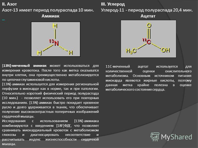 [13N]-меченный аммиак может использоваться для измерения кровотока. После того как метка оказывается внутри клетки, она преимущественно метаболизируется по цепочке глутаминовой кислоты. [13N]-аммиак используется для измерения региональной перфузии в