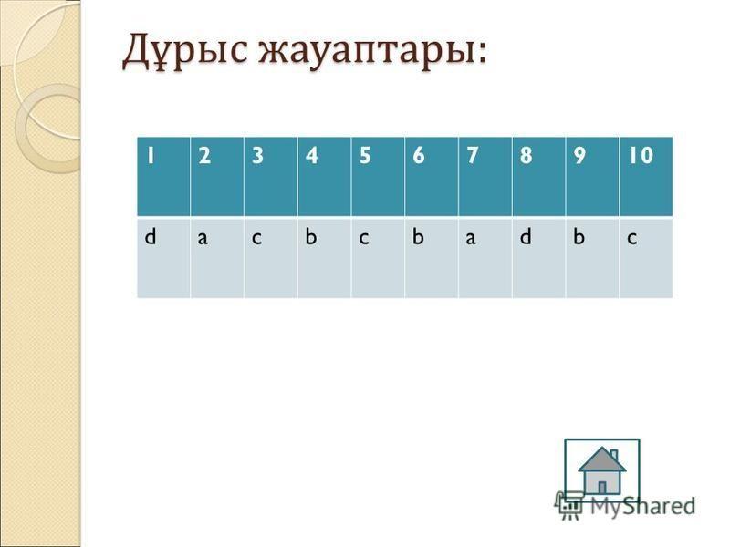6. Ұяшық денегіміз не? a)Беттер саны b)Баған мен жолдардың қиылысуы c) Бағана әрпі d) Жолдар саны 7. Диаграмманы құру қадамдарын көрсет a) 4 b) 5 c) 6 d) 7 8.Электрондық кистеде мәліметтерді өңдеу түрлерін көрестіңіз a) Ғ2 жетелік пернесі арқылы b) Ө