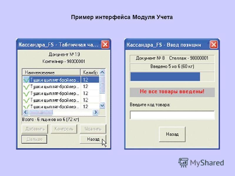Пример интерфейса Модуля Учета