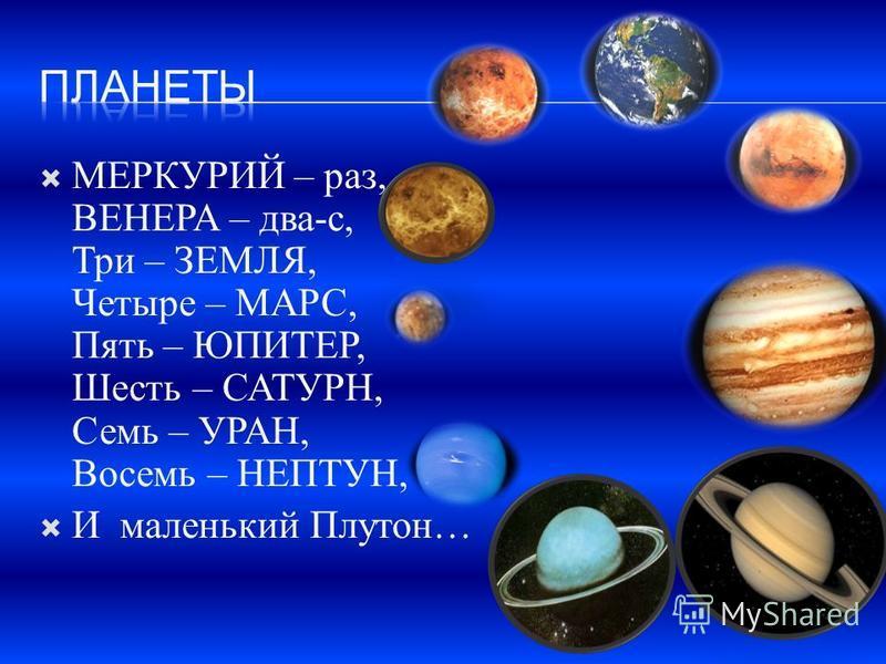 МЕРКУРИЙ – раз, ВЕНЕРА – два-с, Три – ЗЕМЛЯ, Четыре – МАРС, Пять – ЮПИТЕР, Шесть – САТУРН, Семь – УРАН, Восемь – НЕПТУН, И маленький Плутон…