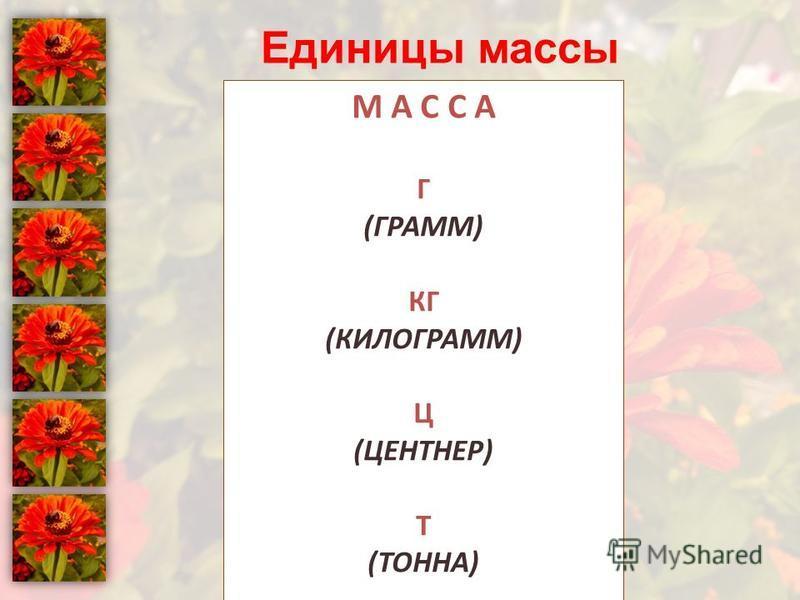 Единицы массы М А С С А Г (ГРАММ) КГ (КИЛОГРАММ) Ц (ЦЕНТНЕР) Т (ТОННА)