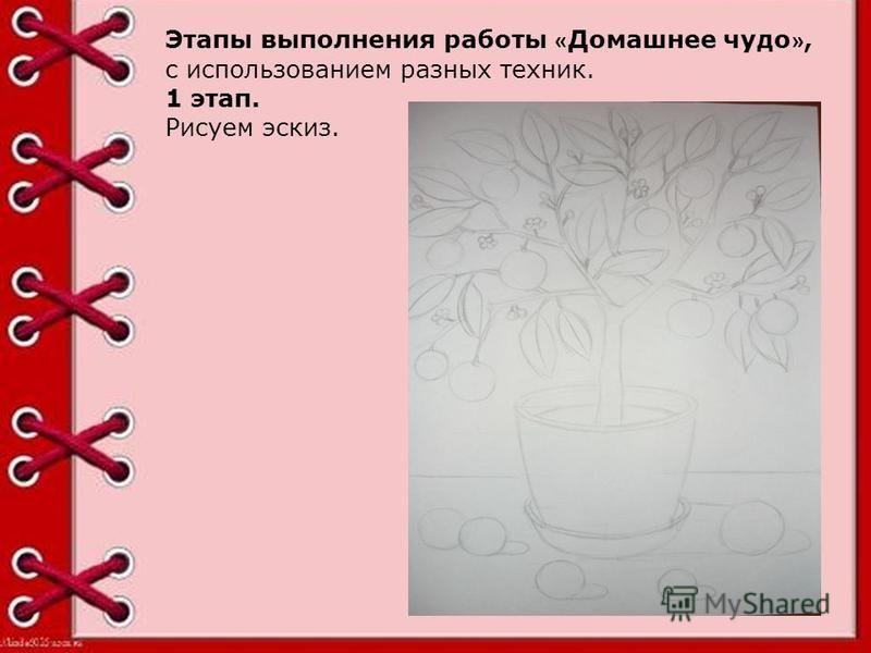 Этапы выполнения работы « Домашнее чудо », с использованием разных техник. 1 этап. Рисуем эскиз.