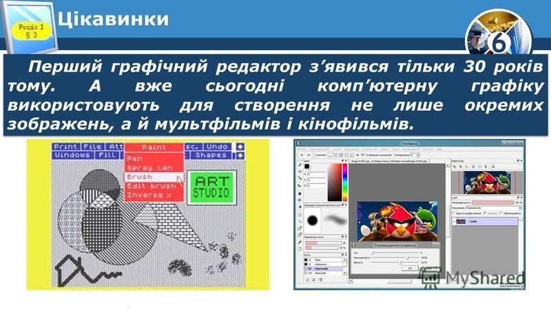 6 Цікавинки Перший графічний редактор зявився тільки 30 років тому. А вже сьогодні компютерну графіку використовують для створення не лише окремих зображень, а й мультфільмів і кінофільмів. Розділ 1 § 3