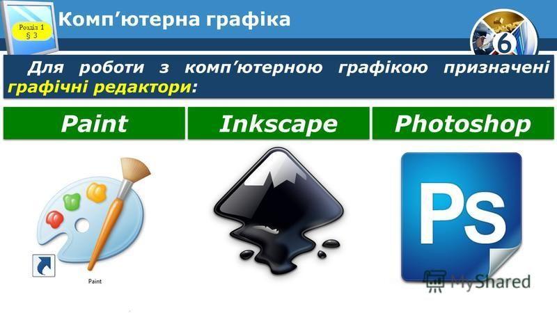 6 Компютерна графіка Для роботи з компютерною графікою призначені графічні редактори: Розділ 1 § 3 Paint Inkscape Photoshop