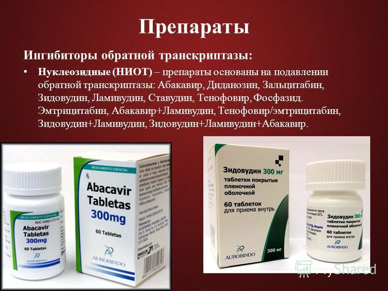 Препараты Ингибиторы обратной транскриптазы: Нуклеозидные (НИОТ) – препараты основаны на подавлении обратной транскриптазы: Абакавир, Диданозин, Зальцитабин, Зидовудин, Ламивудин, Ставудин, Тенофовир, Фосфазид. Эмтрицитабин, Абакавир+Ламивудин, Теноф