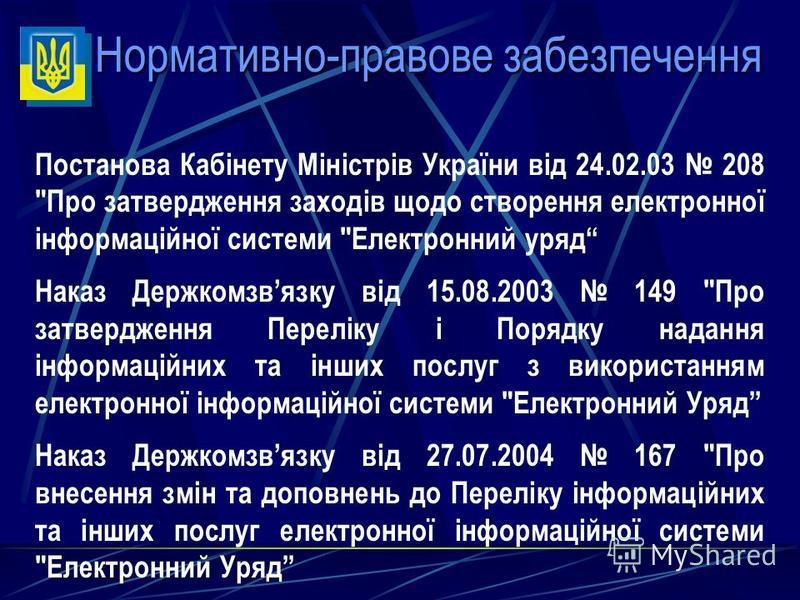 Нормативно-правове забезпечення Постанова Кабінету Міністрів України від 24.02.03 208