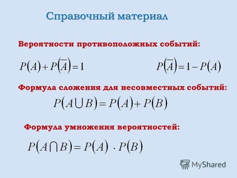 Вероятности противоположных событий: Формула сложения для несовместных событий: Формула умножения вероятностей: Справочный материал