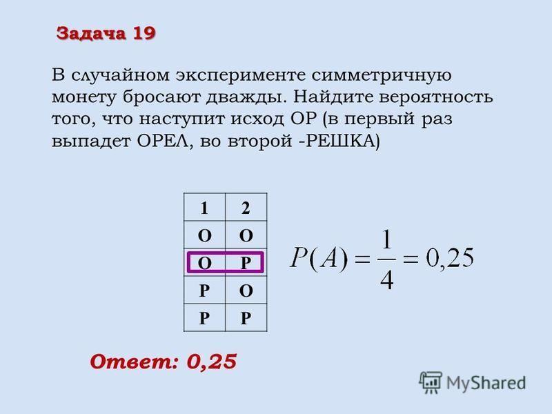 12 ОО ОР РО РР Ответ: 0,25 В случайном эксперименте симметричную монету бросают дважды. Найдите вероятность того, что наступит исход ОР (в первый раз выпадет ОРЕЛ, во второй -РЕШКА) Задача 19