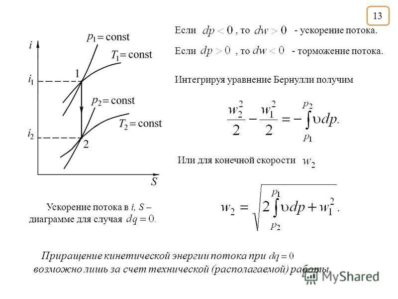 Если, то - торможение потока. Если, то - ускорение потока. Ускорение потока в i, S – диаграмме для случая Интегрируя уравнение Бернулли получим Или для конечной скорости Приращение кинетической энергии потока при возможно лишь за счет технической (ра