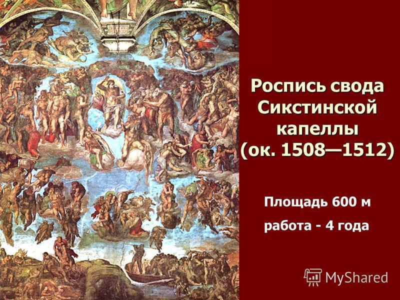 Роспись свода Сикстинской капеллы (ок. 15081512) Площадь 600 м работа - 4 года