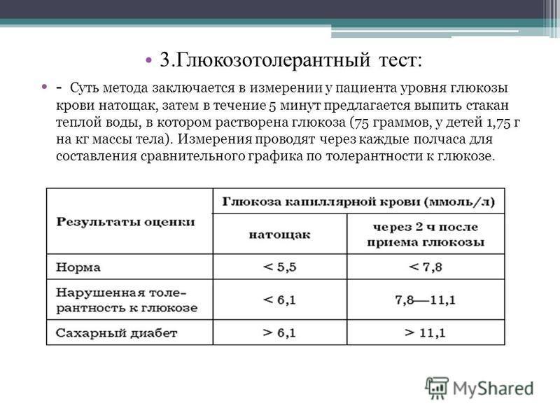 3. Глюкозотолерантный тест: - Суть метода заключается в измерении у пациента уровня глюкозы крови натощак, затем в течение 5 минут предлагается выпить стакан теплой воды, в котором растворена глюкоза (75 граммов, у детей 1,75 г на кг массы тела). Изм