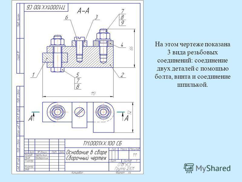 На этом чертеже показана 3 вида резьбовых соединений: соединение двух деталей с помощью болта, винта и соединение шпилькой.