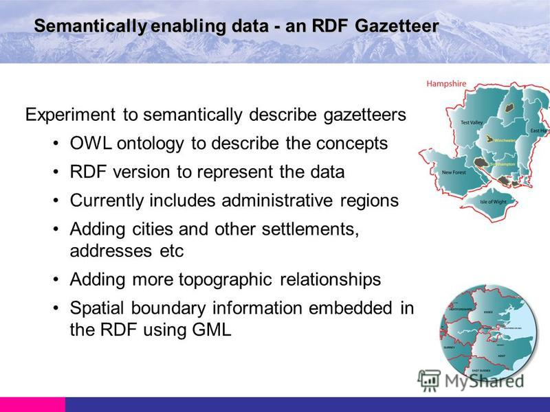Semantically enabling data - an RDF Gazetteer Experiment to semantically describe gazetteers OWL ontology to describe the concepts RDF version to represent the data Currently includes administrative regions Adding cities and other settlements, addres