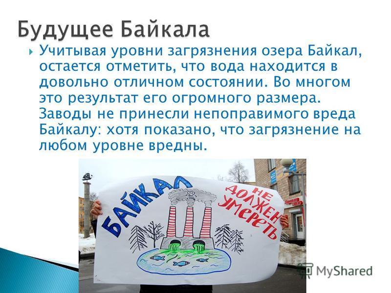 Учитывая уровни загрязнения озера Байкал, остается отметить, что вода находится в довольно отличном состоянии. Во многом это результат его огромного размера. Заводы не принесли непоправимого вреда Байкалу: хотя показано, что загрязнение на любом уров