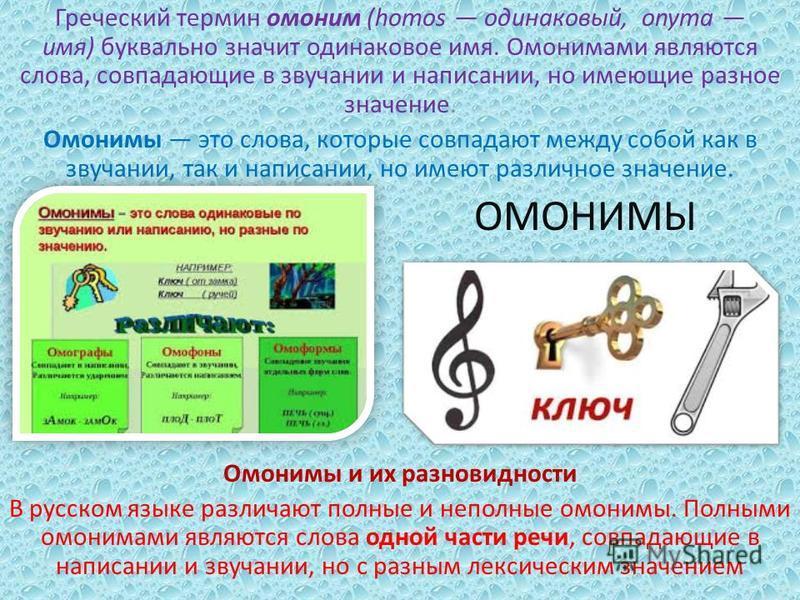 Греческий термин омоним (homos одинаковый, onyma имя) буквально значит одинаковое имя. Омонимами являются слова, совпадающие в звучании и написании, но имеющие разное значение. Омонимы это слова, которые совпадают между собой как в звучании, так и на