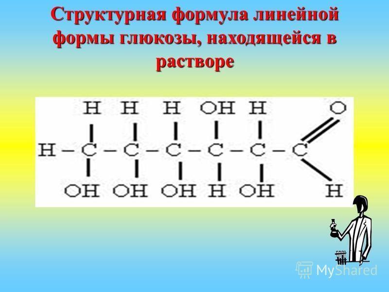 Структурная формула линейной формы глюкозы, находящейся в растворе