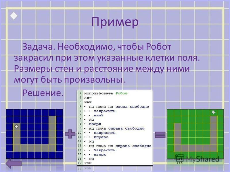 Пример Задача. Необходимо, чтобы Робот закрасил при этом указанные клетки поля. Размеры стен и расстояние между ними могут быть произвольны. Решение.