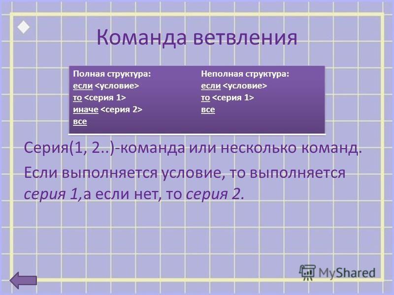 Команда ветвления Серия(1, 2..)-команда или несколько команд. Если выполняется условие, то выполняется серия 1,а если нет, то серия 2.