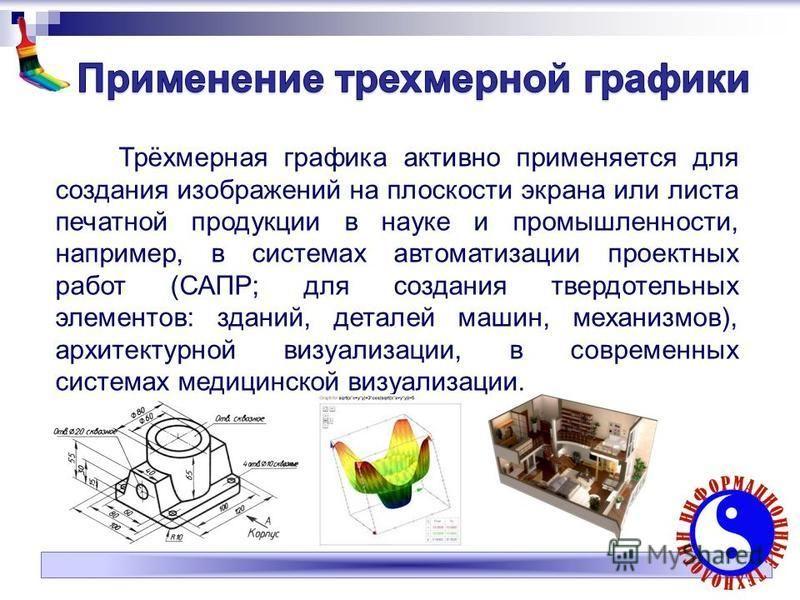 Трёхмерная графика активно применяется для создания изображений на плоскости экрана или листа печатной продукции в науке и промышленности, например, в системах автоматизации проектных работ (САПР; для создания твердотельных элементов: зданий, деталей
