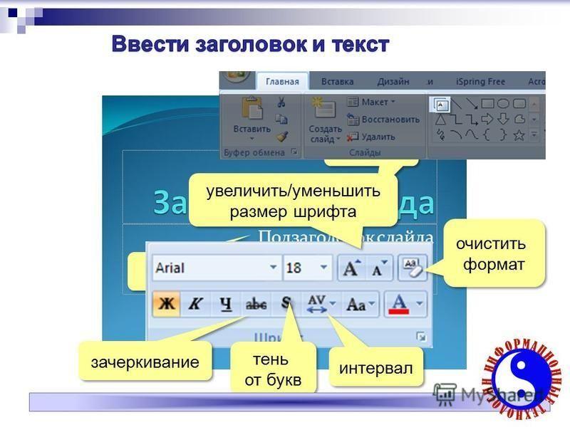 зачеркивание тень от букв интервал очистить формат увеличить/уменьшить размер шрифта увеличить/уменьшить размер шрифта