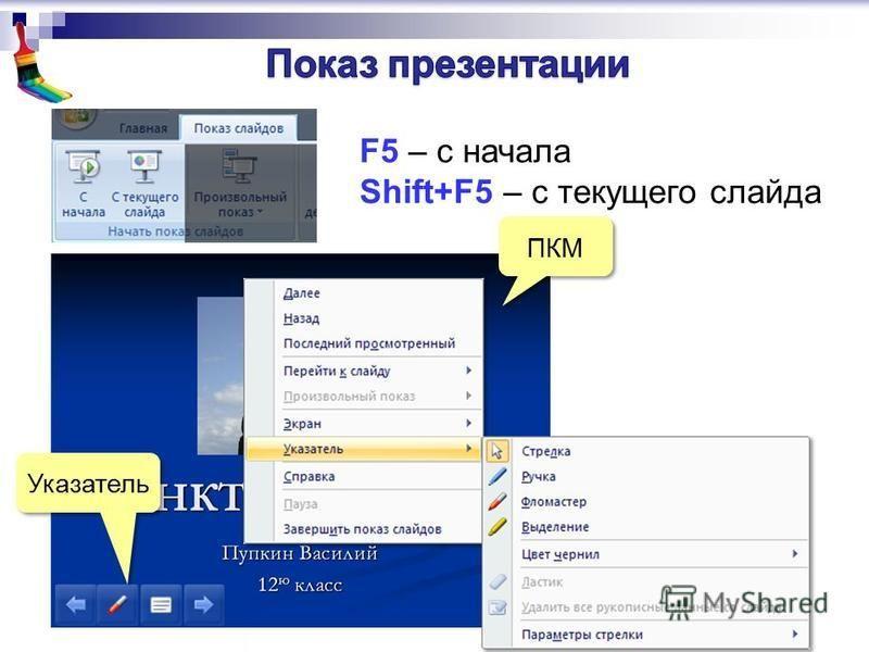 F5 – с начала Shift+F5 – с текущего слайда ПКМ Указатель