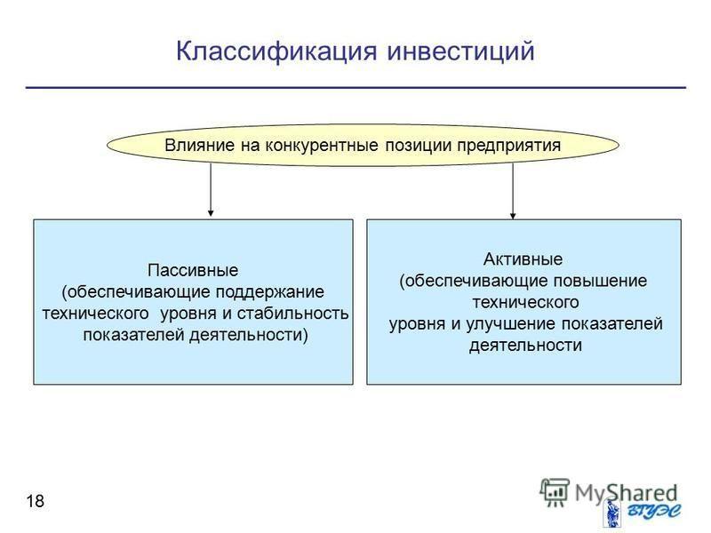 Классификация инвестиций 18 Влияние на конкурентные позиции предприятия Пассивные (обеспечивающие поддержание технического уровня и стабильность показателей деятельности) Активные (обеспечивающие повышение технического уровня и улучшение показателей