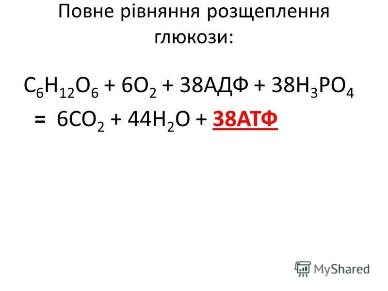 Повне рівняння розщеплення глюкози: С 6 Н 12 О 6 + 6О 2 + 38АДФ + 38Н 3 РО 4 = 6СО 2 + 44Н 2 О + 38АТФ