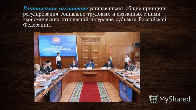 Региональное соглашение устанавливает общие принципы регулирования социально-трудовых и связанных с ними экономических отношений на уровне субъекта Российской Федерации.