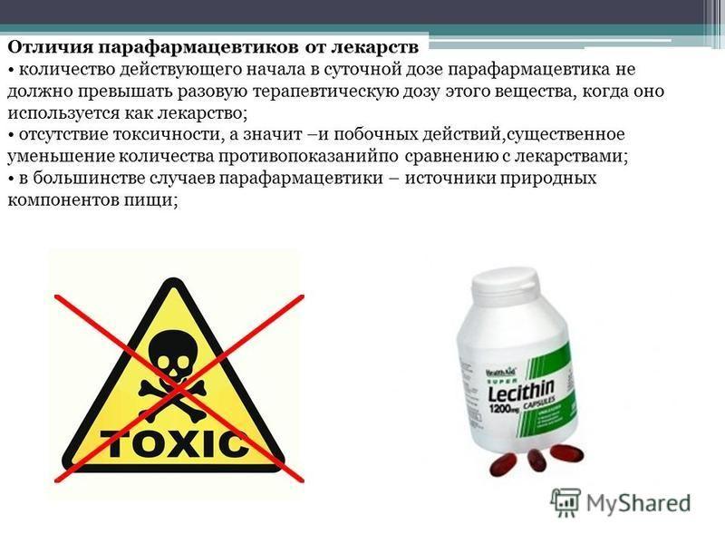 Отличия парафармацевтиков от лекарств количество действующего начала в суточной дозе парафармацевтика не должно превышать разовую терапевтическую дозу этого вещества, когда оно используется как лекарство; отсутствие токсичности, а значит –и побочных