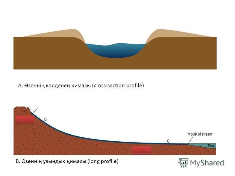 А. Өзеннің көлденең қимасы (cross-section profile) B. Өзеннің ұзындық қимасы (long profile)