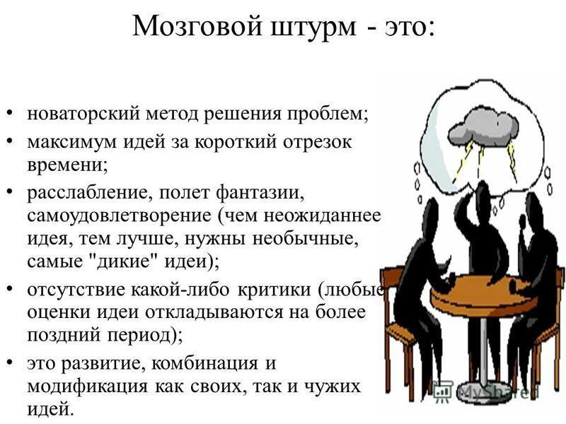 Мозговой штурм - это: новаторский метод решения проблем; максимум идей за короткий отрезок времени; расслабление, полет фантазии, самоудовлетворение (чем неожиданнее идея, тем лучше, нужны необычные, самые