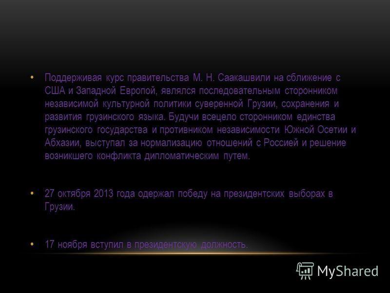 Поддерживая курс правительства М. Н. Саакашвили на сближение с США и Западной Европой, являлся последовательным сторонником независимой культурной политики суверенной Грузии, сохранения и развития грузинского языка. Будучи всецело сторонником единств