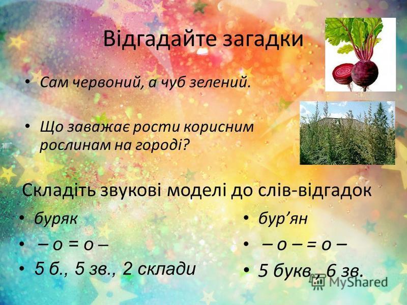 Відгадайте загадки Сам червоний, а чуб зелений. Що заважає рости корисним рослинам на городі? Складіть звукові моделі до слів-відгадок буряк – о = о – 5 б., 5 зв., 2 склади бурян – о – = о – 5 букв, 6 зв.