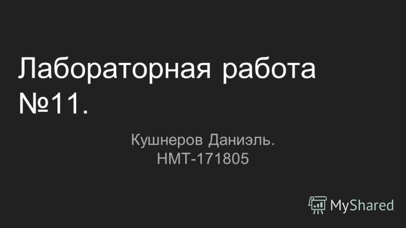Лабораторная работа 11. Кушнеров Даниэль. НМТ-171805