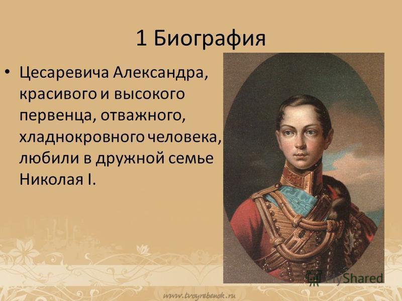 1 Биография Цесаревича Александра, красивого и высокого первенца, отважного, хладнокровного человека, любили в дружной семье Николая I.