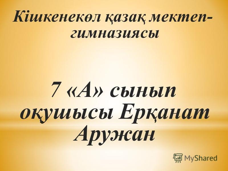 Кішкенекөл қазақ мектеп- гимназиясы 7 «А» сынып оқушысы Ерқанат Аружан