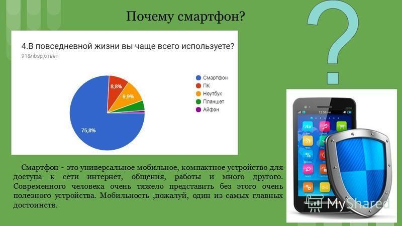 Смартфон - это универсальное мобильное, компактное устройство для доступа к сети интернет, общения, работы и много другого. Современного человека очень тяжело представить без этого очень полезного устройства. Мобильность,пожалуй, один из самых главны