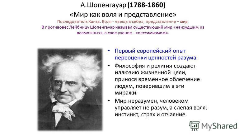 А.Шопенгауэр (1788-1860) «Мир как воля и представление» Последователь Канта. Воля - «вещь в себе», представление – мир. В противовес Лейбницу Шопенгауэр называл существующий мир «наихудшим из возможных», а свое учение - «пессимизмом». Первый европейс