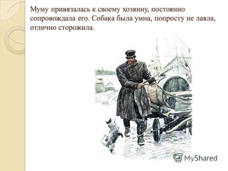 Муму привязалась к своему хозяину, постоянно сопровождала его. Собака была умна, попросту не лаяла, отлично сторожила.