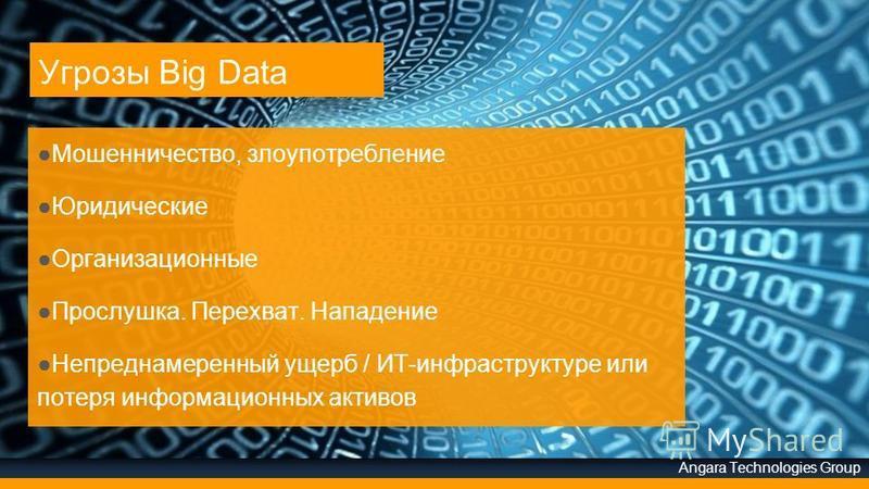 Angara Technologies Group Угрозы Big Data Мошенничество, злоупотребление Юридические Организационные Прослушка. Перехват. Нападение Непреднамеренный ущерб / ИТ-инфраструктуре или потеря информационных активов