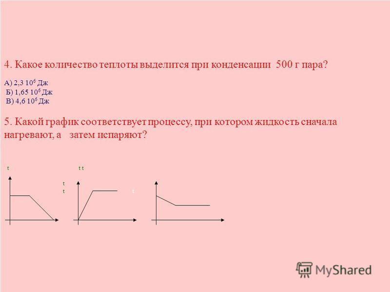 4. Какое количество теплоты выделится при конденсации 500 г пара? А) 2,3 10 6 Дж Б) 1,65 10 6 Дж В) 4,6 10 6 Дж 5. Какой график соответствует процессу, при котором жидкость сначала нагревают, а затем испаряют? t t ttt