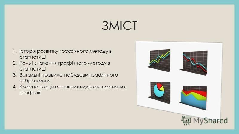 ЗМІСТ 1.Історія розвитку графічного методу в статистиці 2.Роль і значення графічного методу в статистиці 3.Загальні правила побудови графічного зображення 4.Класифікація основних видів статистичних графіків